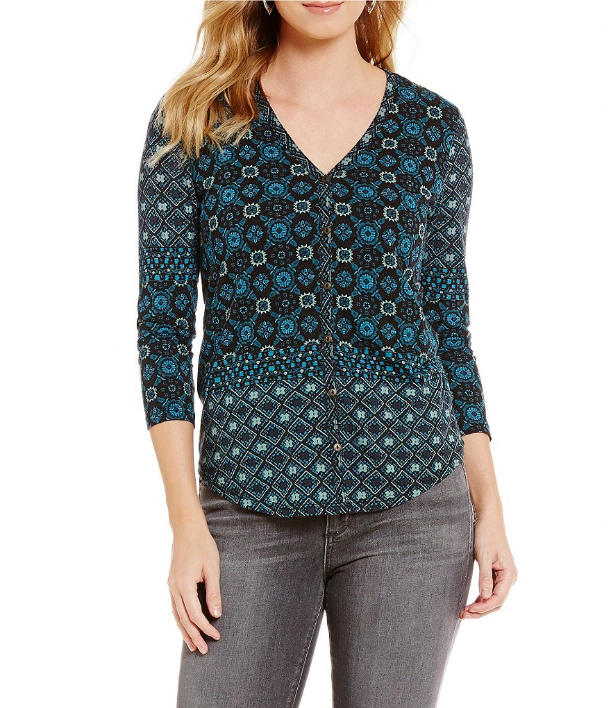 Lucky Brand Moroccan Tile Placed Print Knit Top