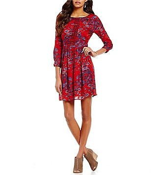 Lucky Brand Long Sleeve Floral Print Macrame Dress