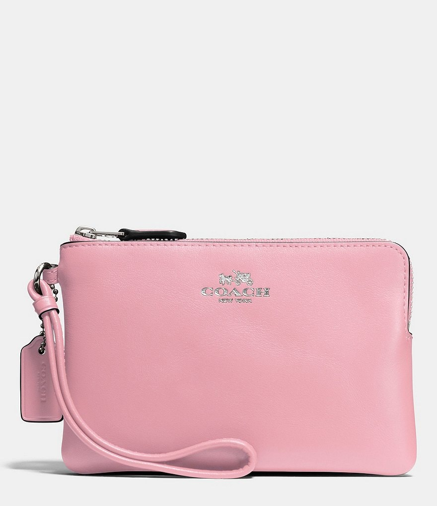 COACH BOXED CORNER ZIP WRISTLET IN CALF LEATHER