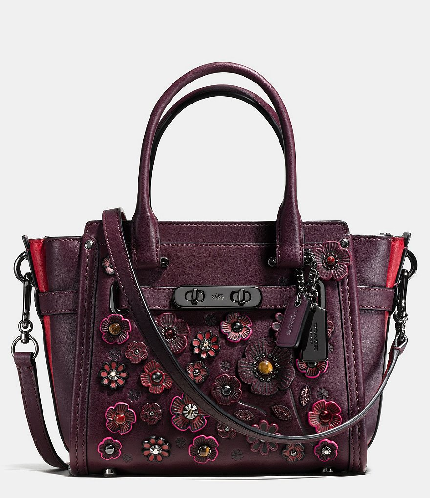 COACH WILLOW FLORAL SWAGGER 21 IN GLOVETANNED LEATHER