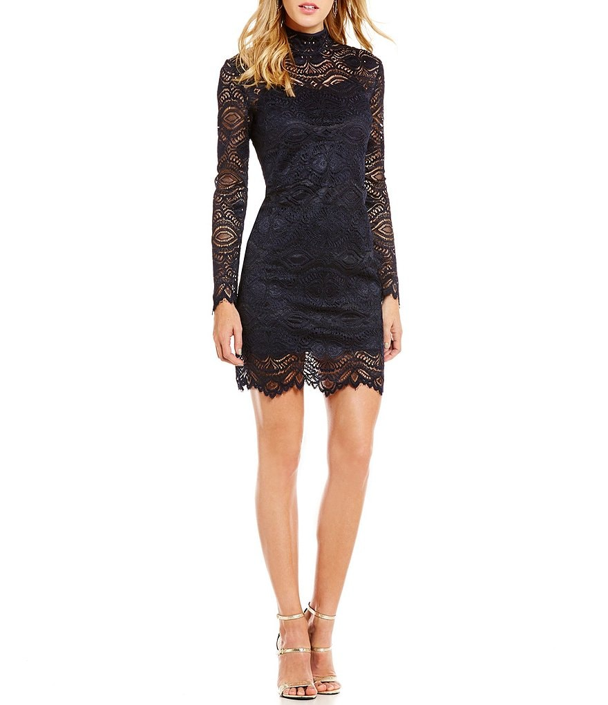 WAYF Long Sleeve Mock Neck Lace Dress