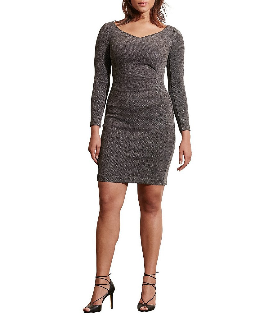 Lauren Ralph Lauren Plus Long Sleeve V-Neck Sheath Dress