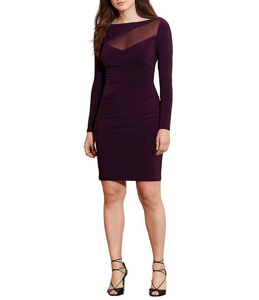 Lauren Ralph Lauren Plus Asymmetrical Mesh Yoke Sheath Dress