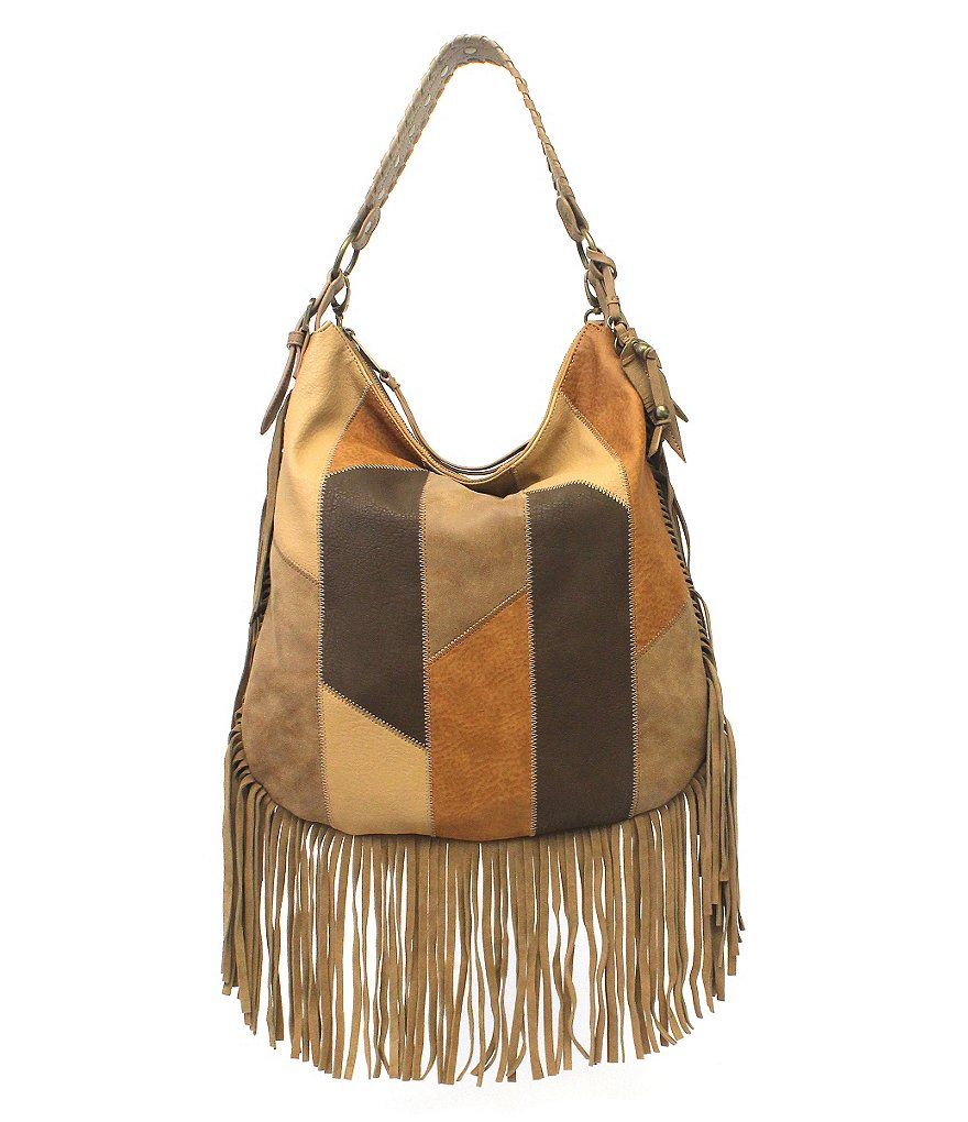 Jessica Simpson Delilah Fringed Patchwork Hobo Bag
