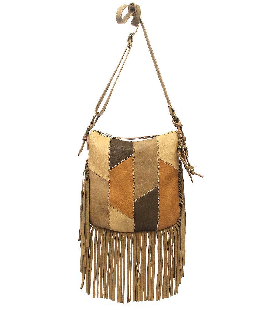 Jessica Simpson Delilah Fringed Patchwork Cross-Body Bag