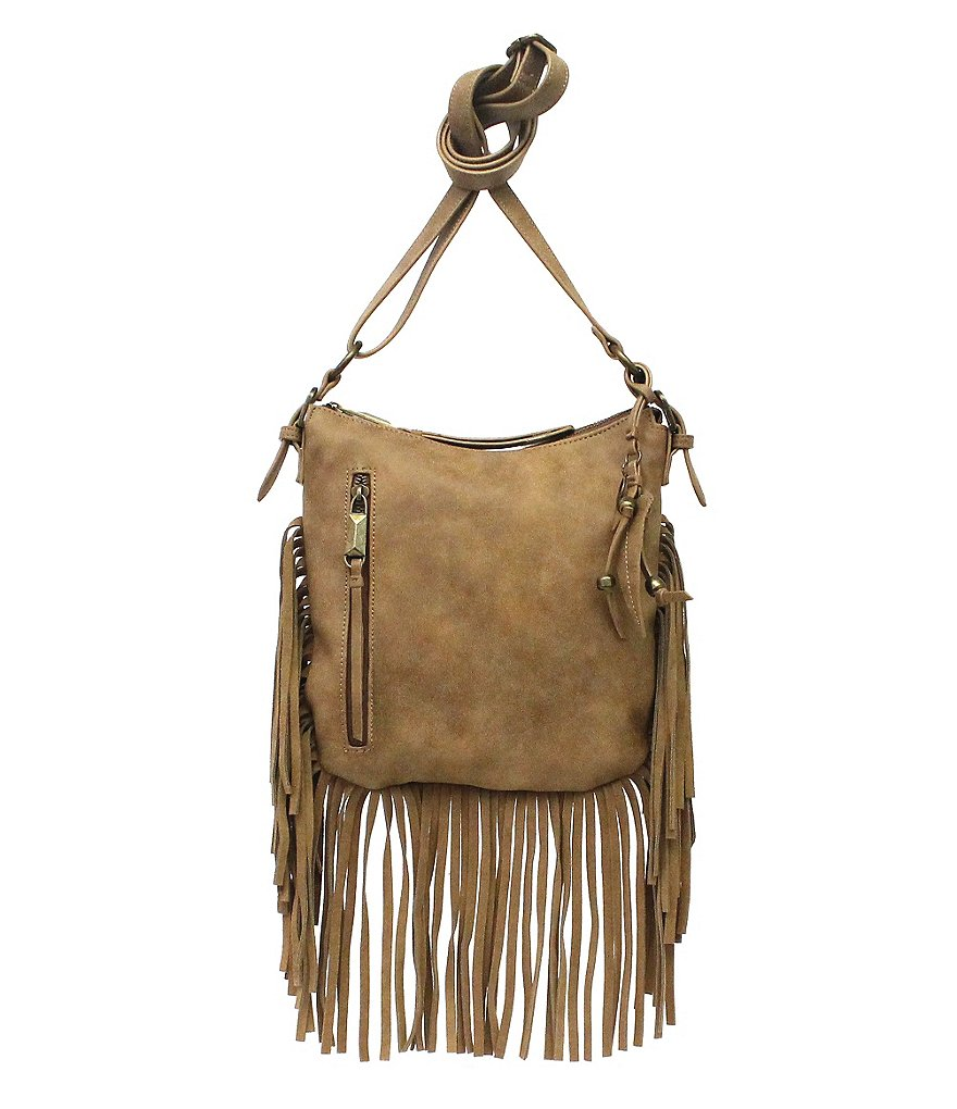 Jessica Simpson Delilah Fringed Faux-Suede Cross-Body Bag