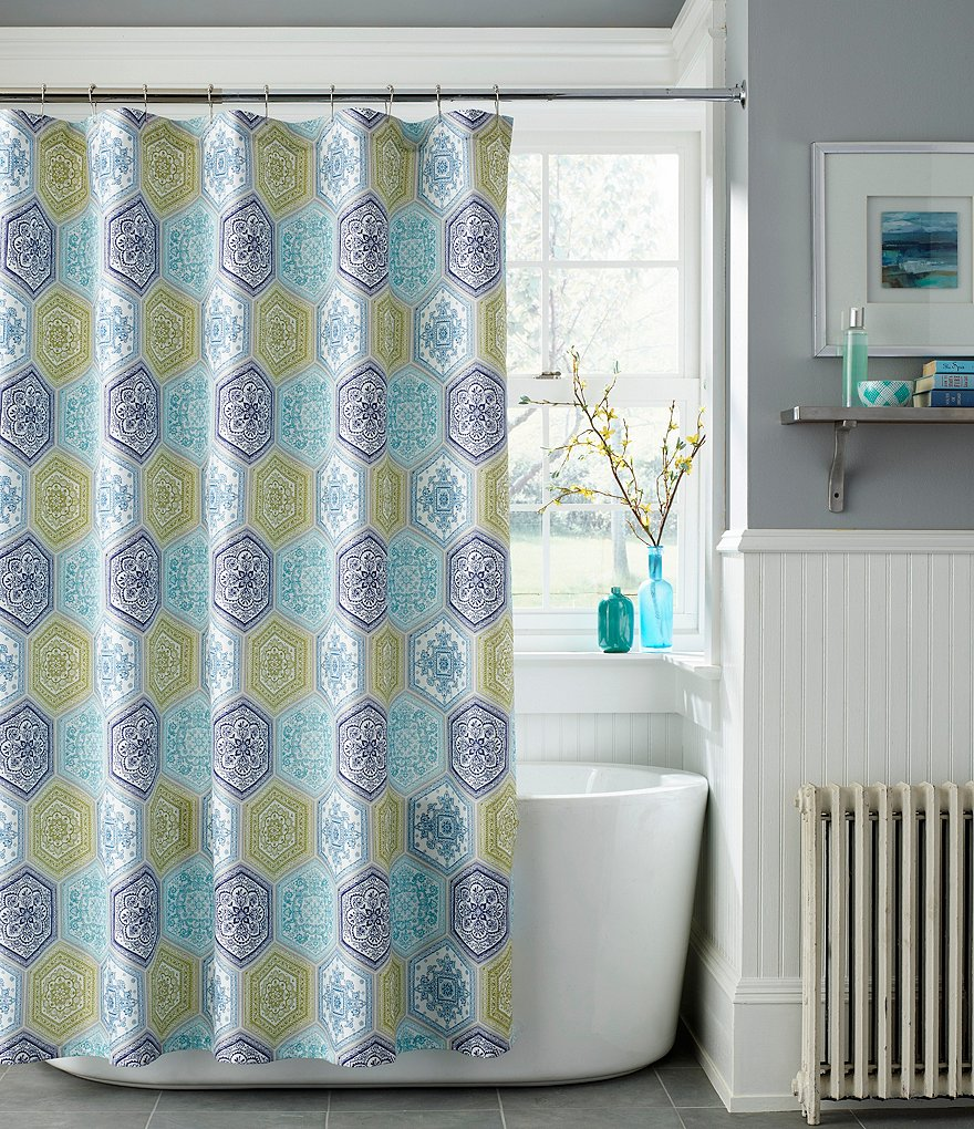 J. Queen New York Naples Geometric Shower Curtain