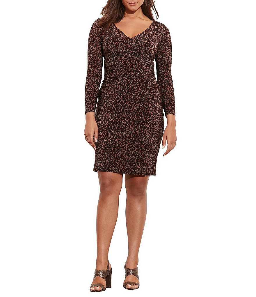 Lauren Ralph Lauren Plus Printed Surplice V-Neck Sheath Dress