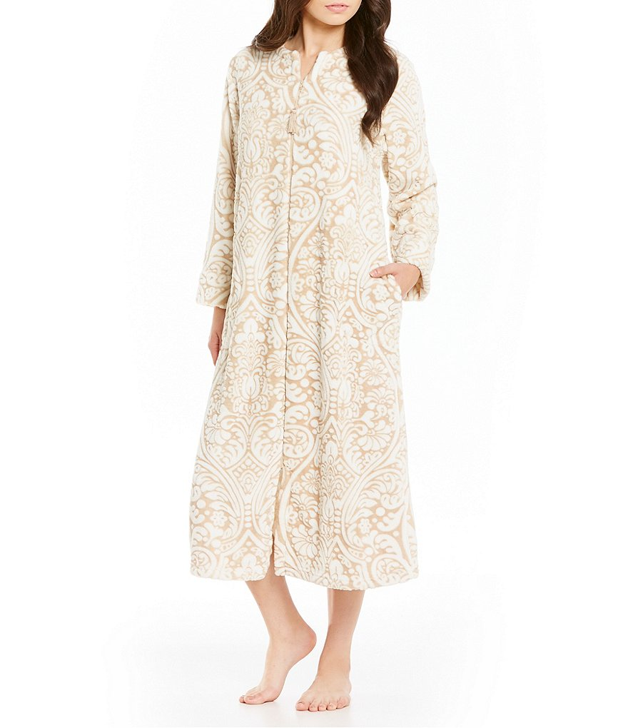 Miss Elaine Damask Luxe Fleece Zip Robe