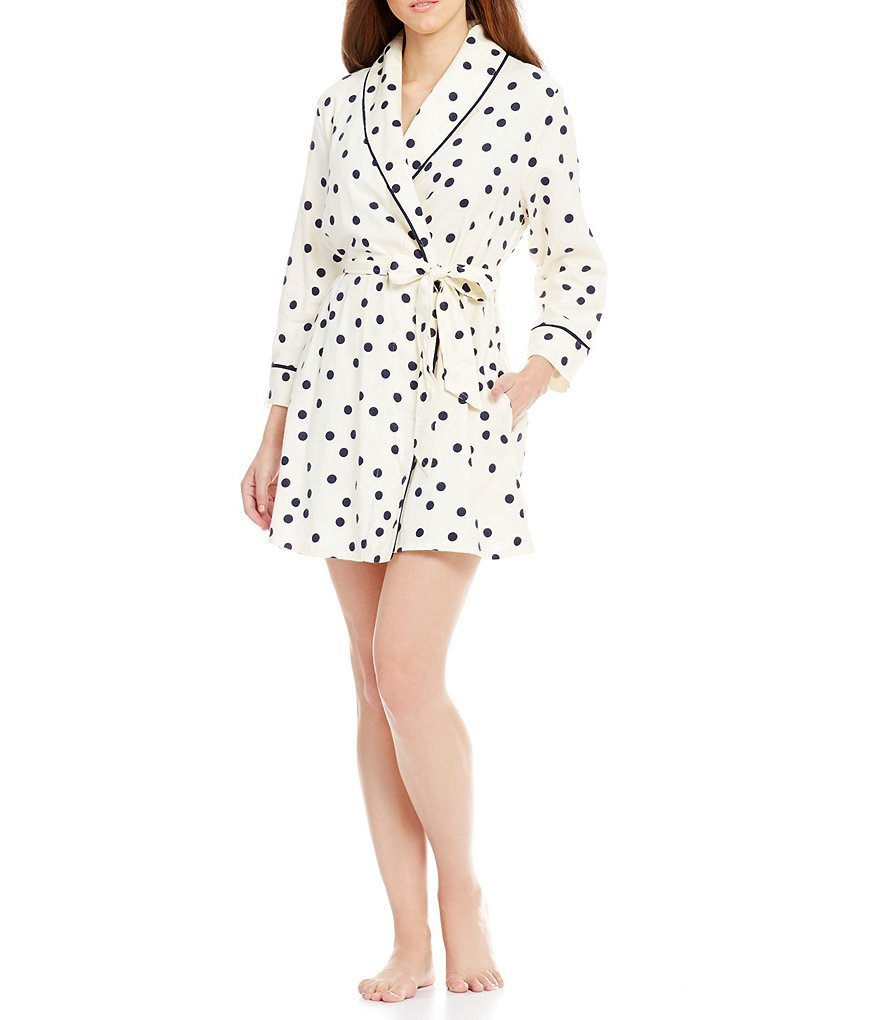 kate spade new york Shadow-Dotted Flannel Wrap Robe