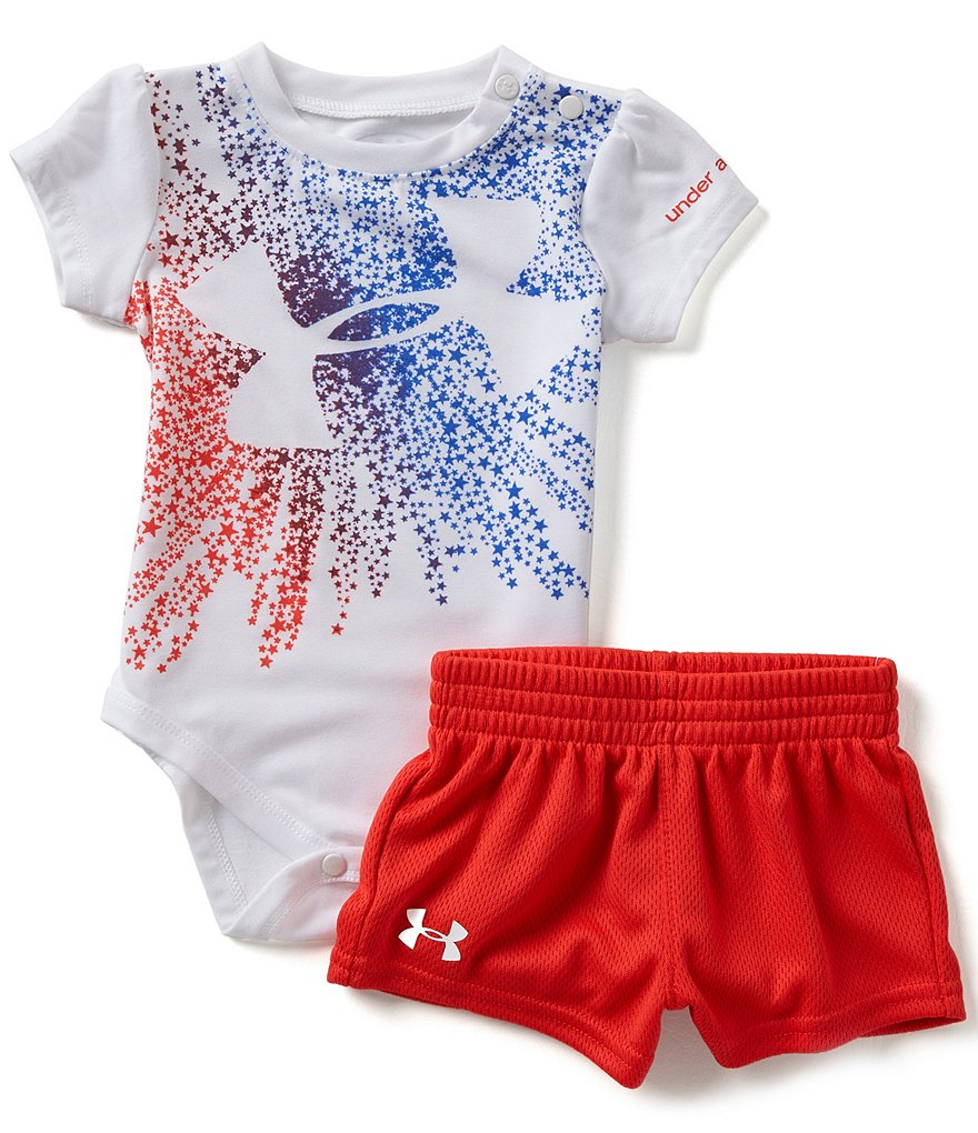 Under Armour Baby Girls Newborn-12 Months American Starburst Logo Bodysuit & Shorts Set
