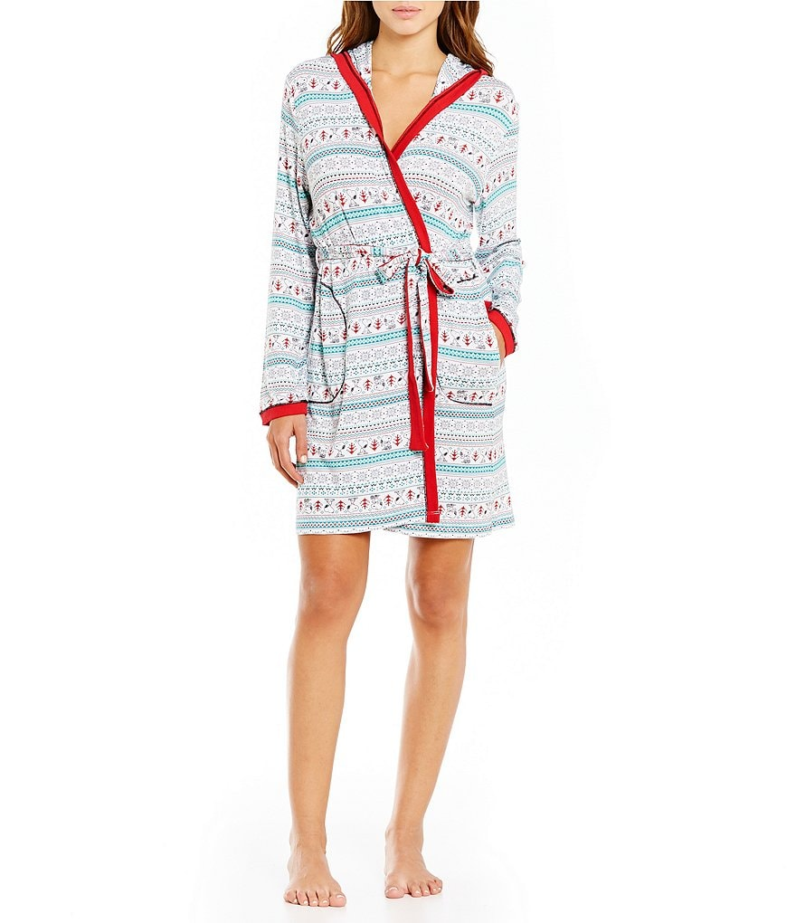 Peanuts Holiday Snoopy & Heart Fair Isle Hooded Wrap Robe