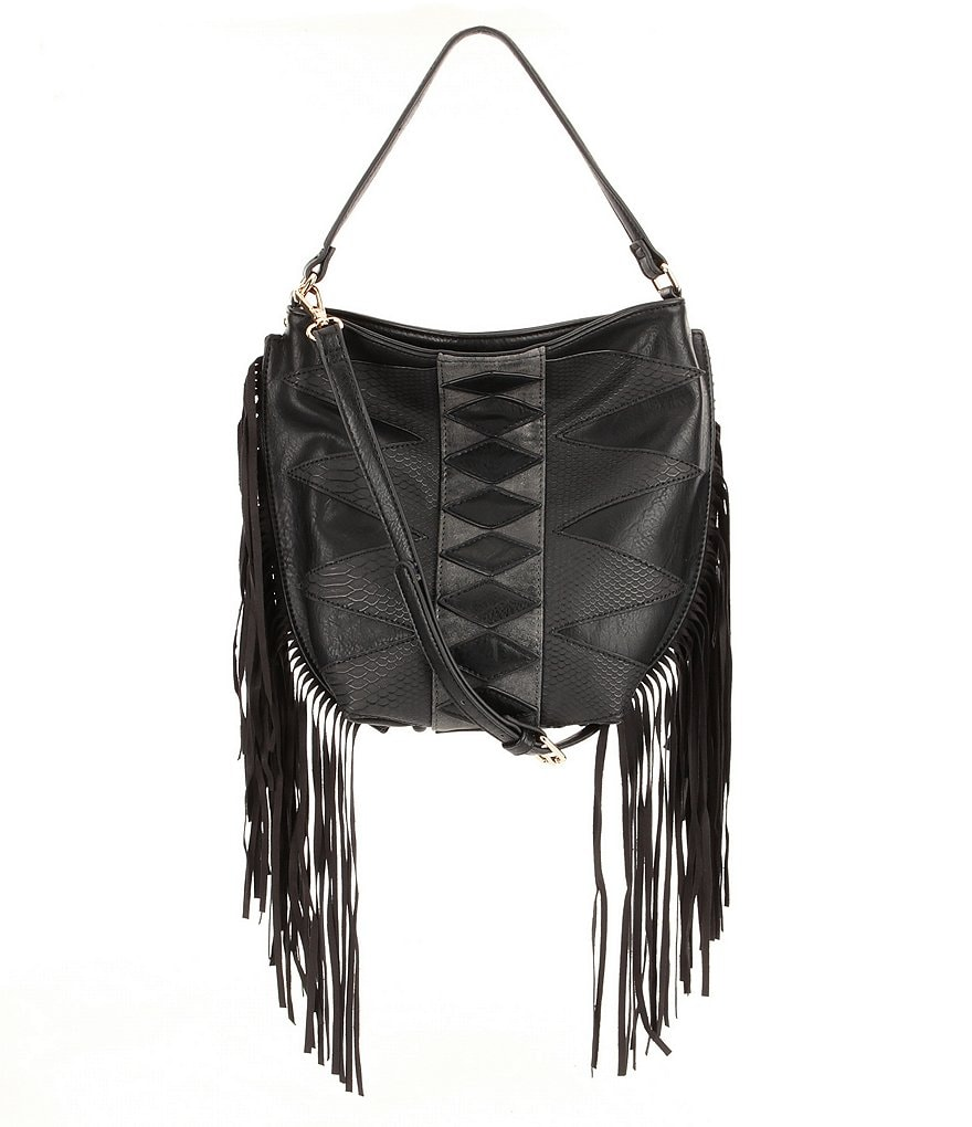 Steve Madden Hutch Fringed Patchwork Hobo Bag