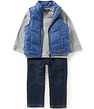 7 For All Mankind Baby Boys 12-24 Months Puffer Vest, Slub Jersey Long-Sleeve Tee & Denim Jeans Set