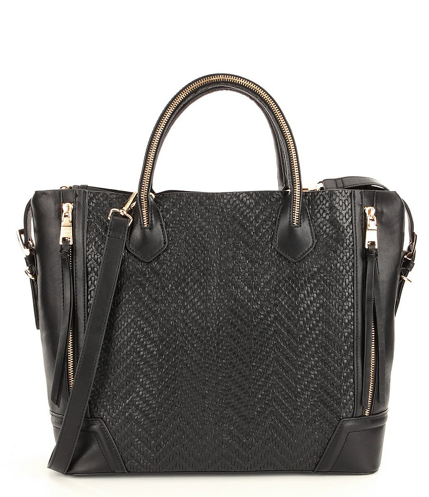 Steve Madden Nash Woven Faux-Leather Satchel