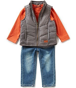 7 for All Mankind Baby Boys 12-24 Months Puffer Vest, Slub Jersey Long-Sleeve Tee, & Denim Jeans Set