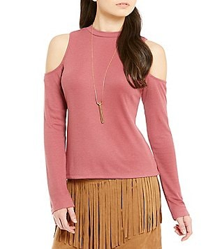 JACK by BB Dakota Long Sleeve Cold Shoulder Mock Neck Top