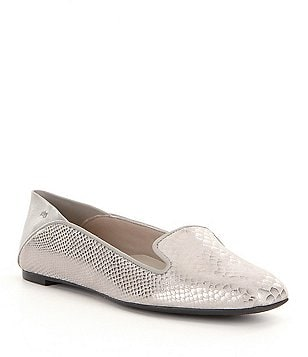 Nurture Addington Snake-Print Leather Slip-On Collapse Back Flat