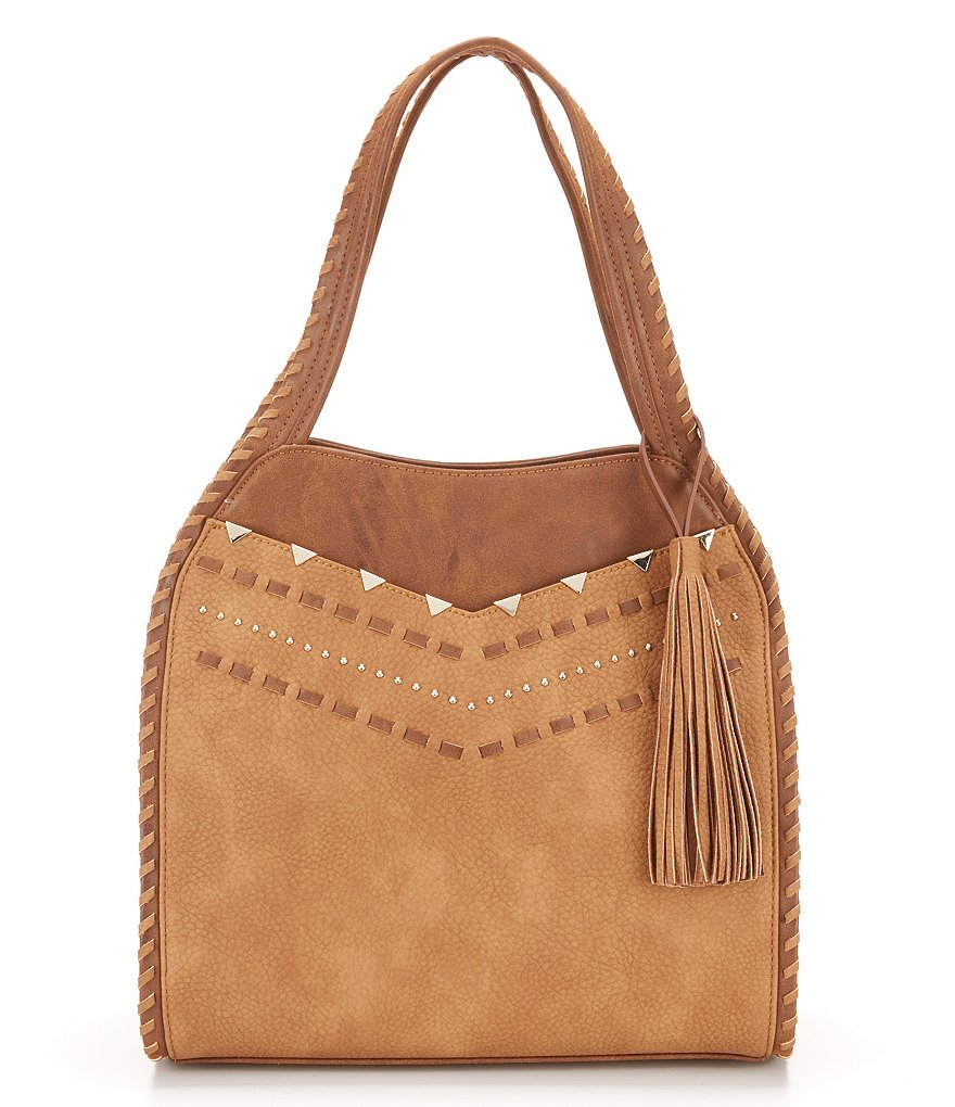 Steven by Steve Madden Jonah Tasseled Studded Hobo Bag