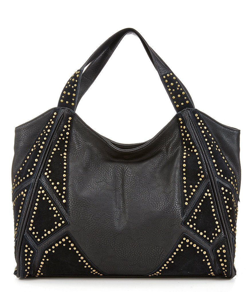 Steven by Steve Madden Lora Studded Patchwork Hobo Bag
