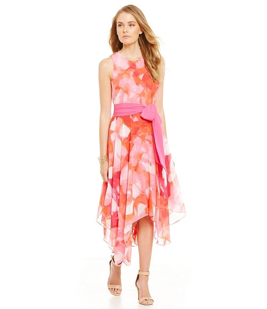 Eliza J Chiffon Printed Halter Scarf Dress