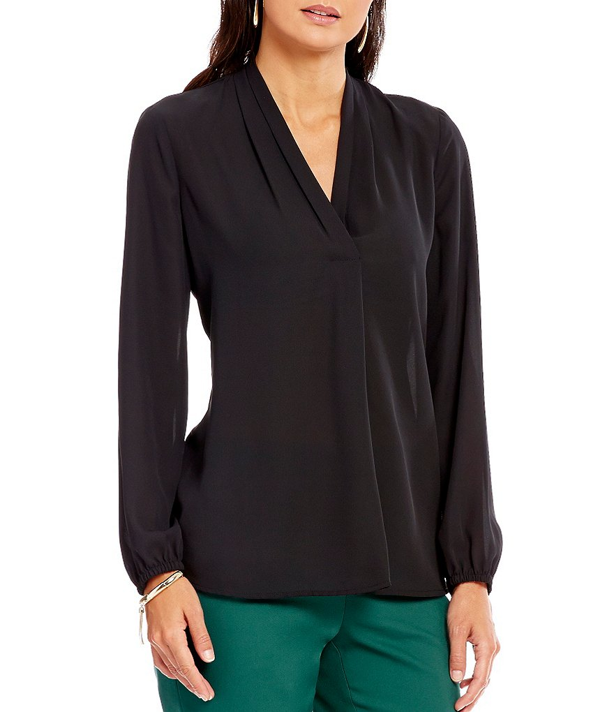 Preston & York Rebecca Crepe De Chine V-Neck Blouse