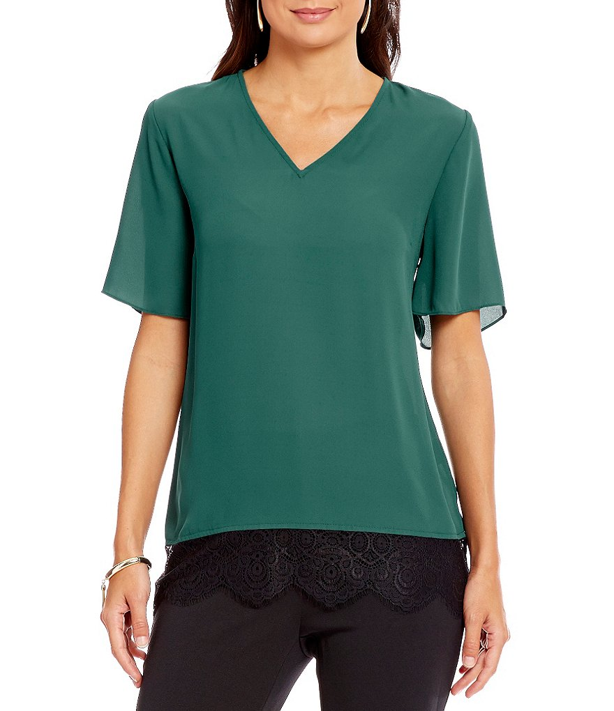 Preston & York Helene Colorblock V-Neck Blouse