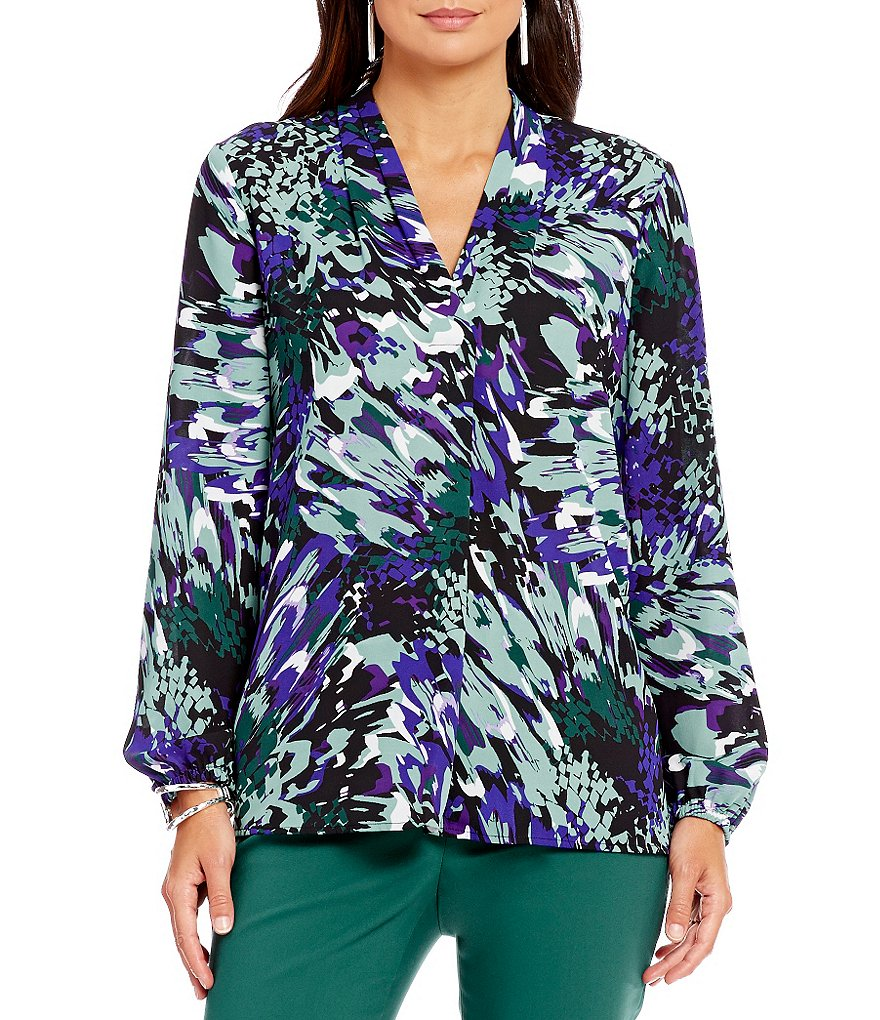 Preston & York Rebecca Printed Crepe De Chine V-Neck Blouse