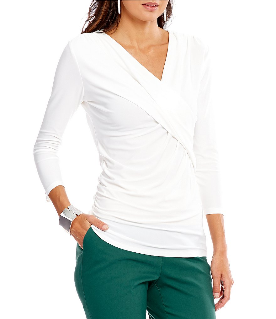 Preston & York Raine Knit V-Neck 3/4 Sleeve Blouse