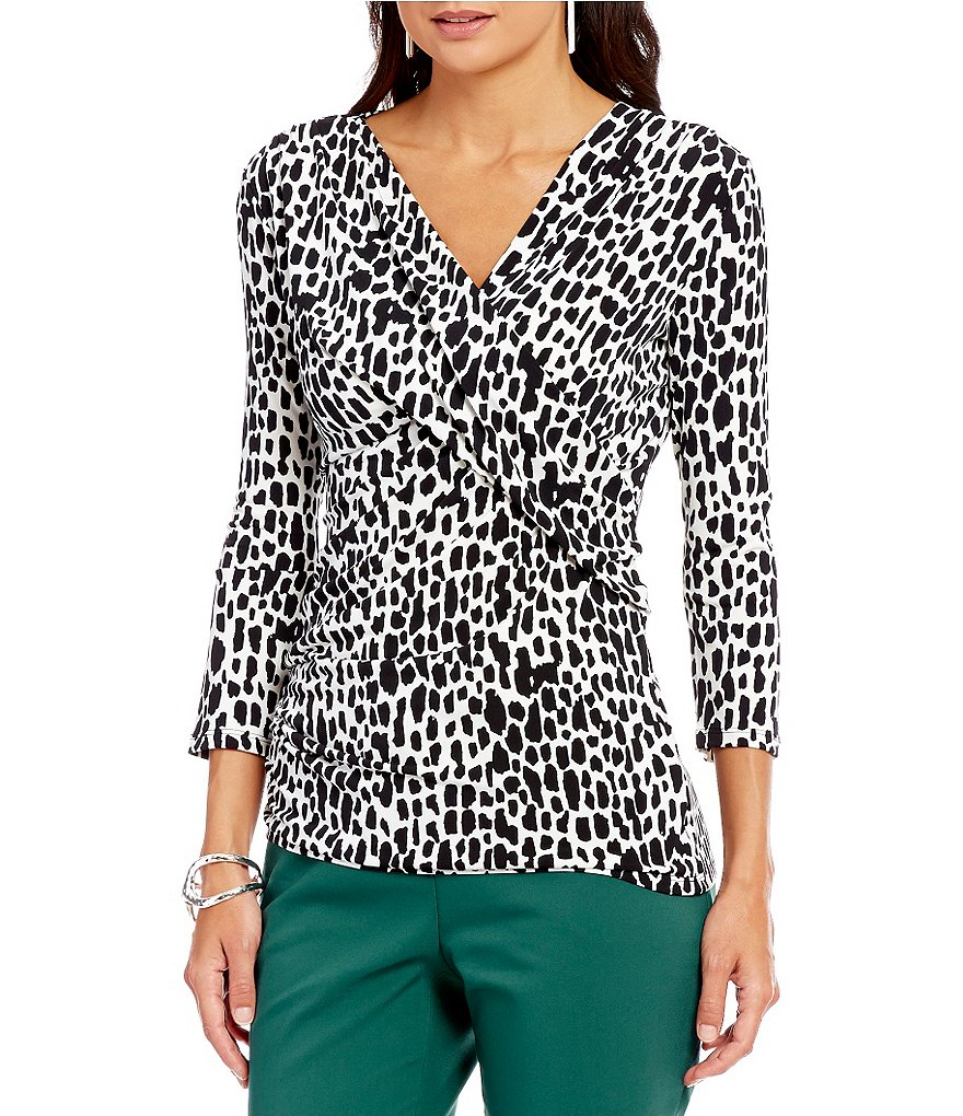 Preston & York Raine Printed V-Neck 3/4 Sleeve Knit Blouse