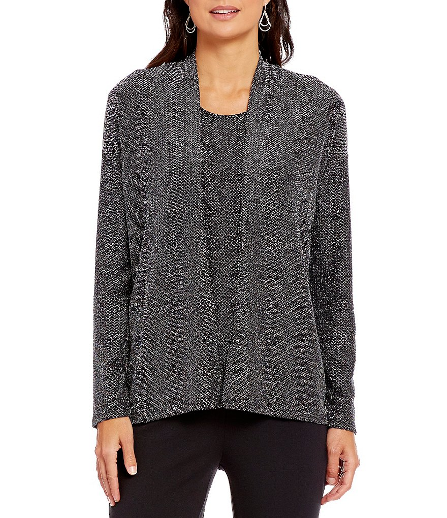 Preston & York Haley Dolman Sleeve Lurex Knit Cardigan