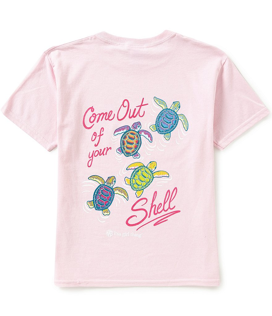 Itsa Girl Thing Big Girls 7-16 Short Sleeve Turtle Tee