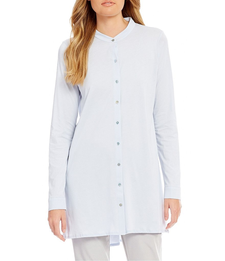 Eileen Fisher Mandarin Collar Long Dolman Sleeve Tunic