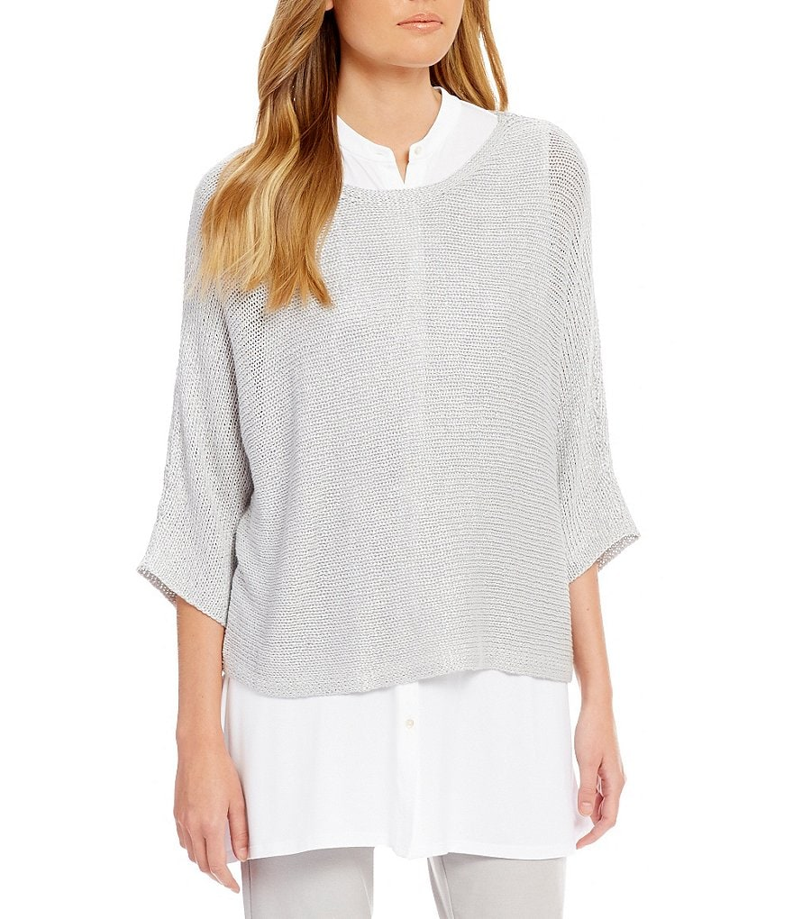 Eileen Fisher Linen Shimmer 3/4 Sleeve Top