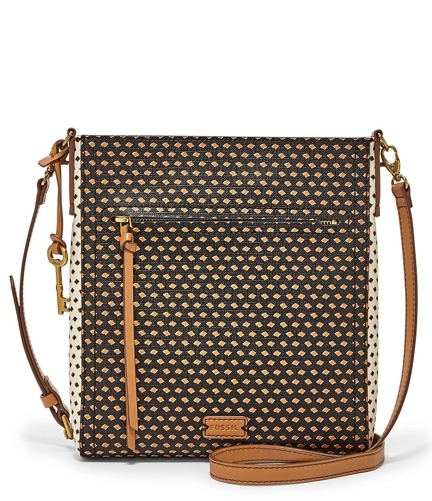 Fossil Emma Diamond-Dotted North/South Cross-Body Bag