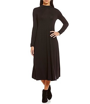 Eileen Fisher Mock Neck Long Sleeve Midi Dress
