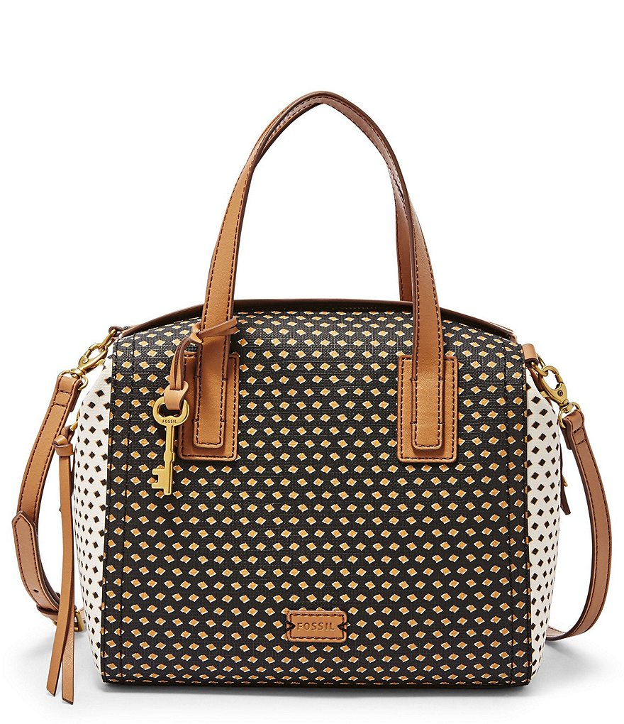 Fossil Emma Diamond-Dotted Satchel