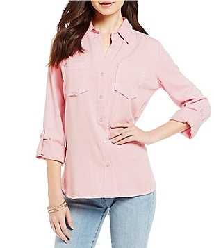KUT from the Kloth Hanna Point Collar Solid Roll-Tab Sleeve Top