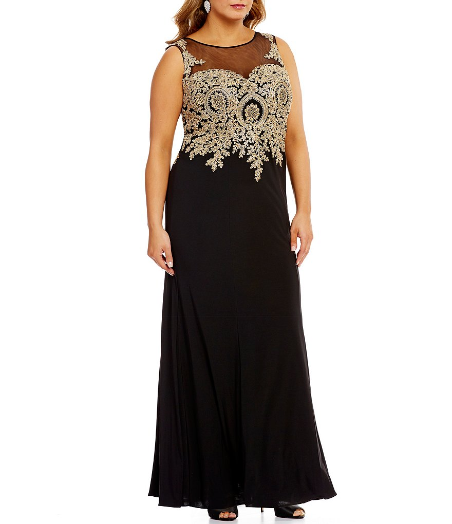 Cachet Plus Illusion-Neck Metallic Embroidered Matte Jersey Gown