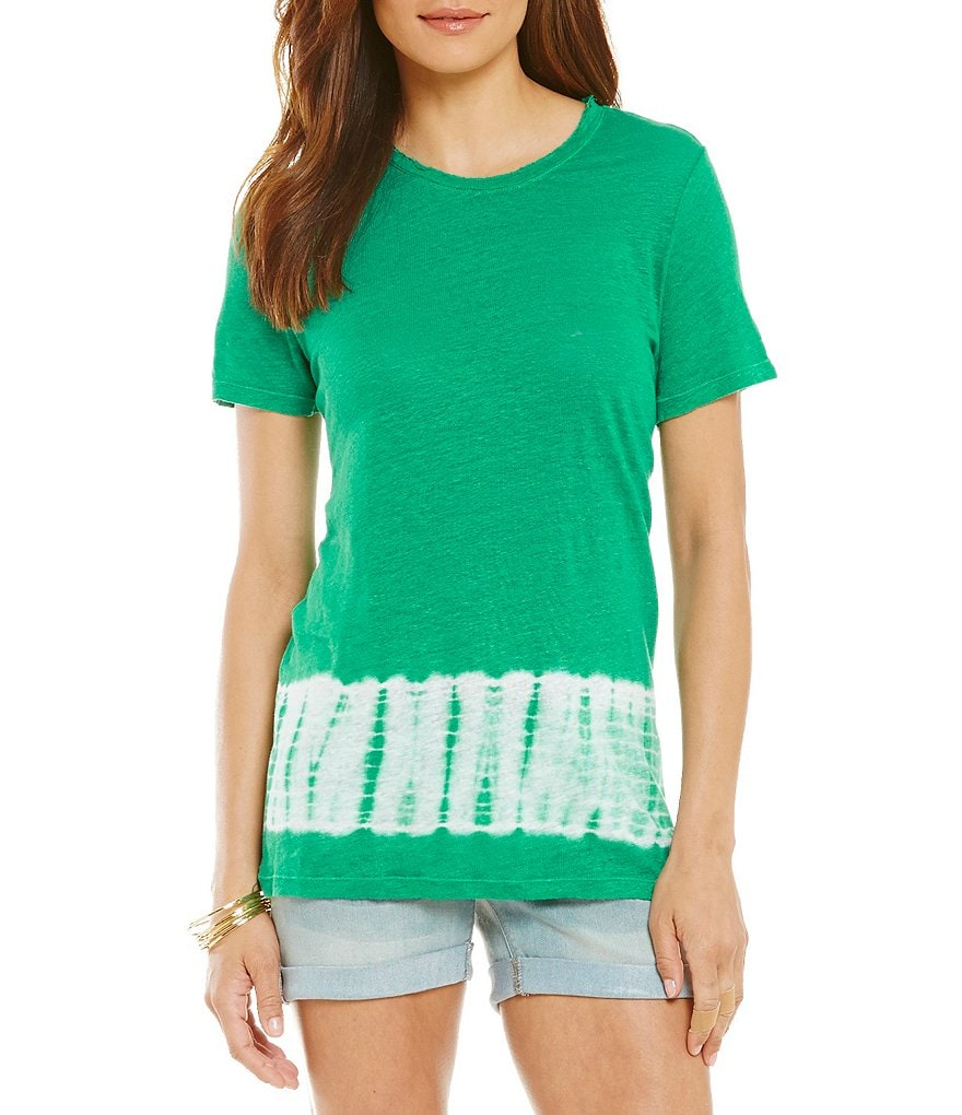 Two By Vince Camuto Tie Dye Radius Linen Tee