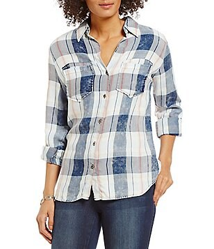 KUT from the Kloth Hanna Plaid Roll-Tab Sleeve Top
