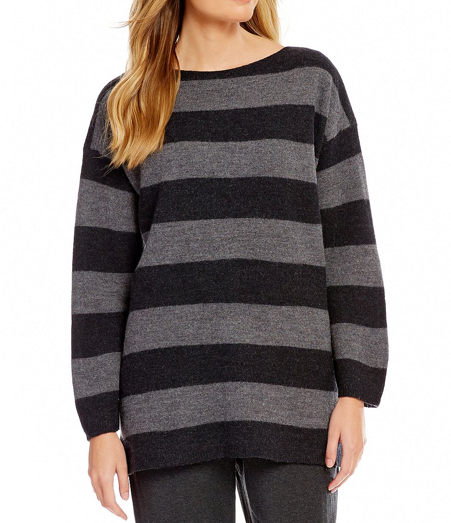 Eileen Fisher Bateau Neck Long Sleeve Slouchy Top