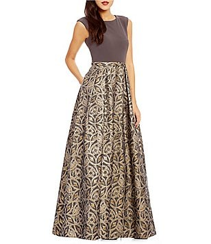 Calvin Klein Round Neck Sleeveless Brocade Gown
