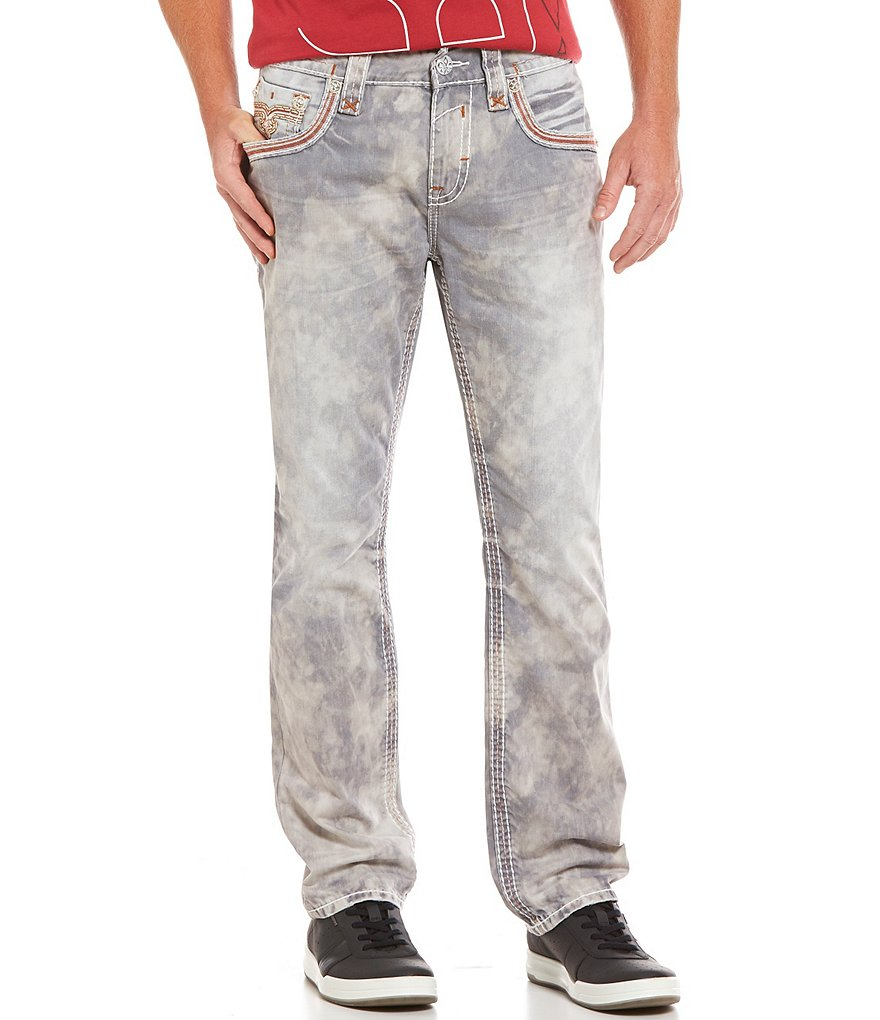 Rock Revival Acid-Wash Sanded Whiskered Denim Jeans