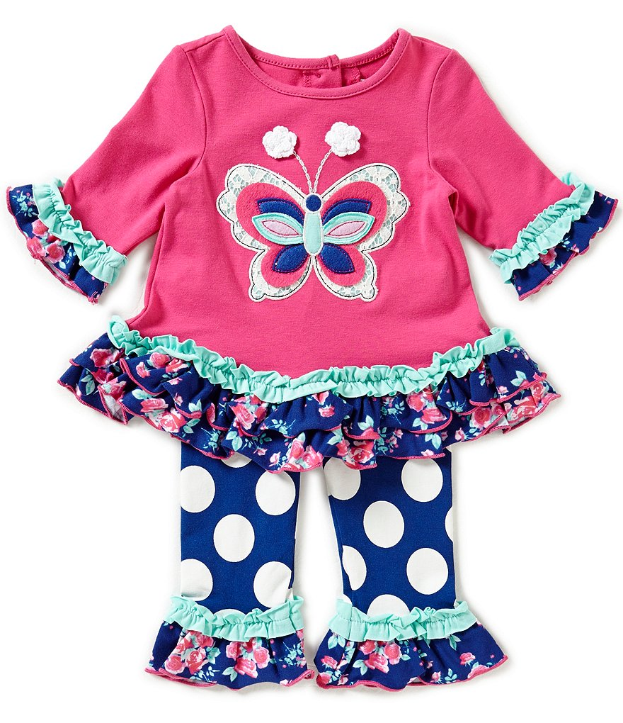 Rare Editions Baby Girls 3-24 Months Butterfly-Applique Tunic & Large-Dot Leggings Set