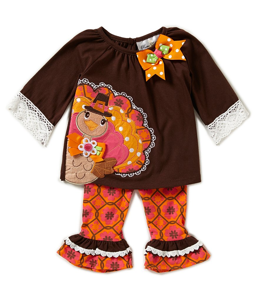 Rare Editions Baby Girls 3-24 Months Thanksgiving Turkey-Appliqued Top & Printed Pant Set