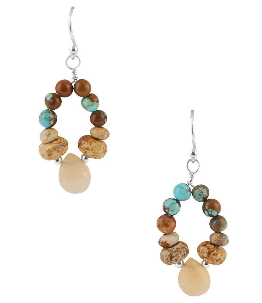 Barse Turquoise, Jasper & Peach Moonstone Drop Earrings