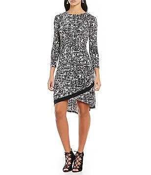 Ellen Tracy Abstract Texture Print Crossover 3/4 Sleeve Hi-Low Hem Dress