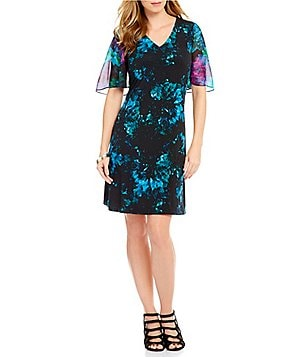 Ellen Tracy Radiance Floral Print Sheer Flutter Sleeve Matte Jersey Dress
