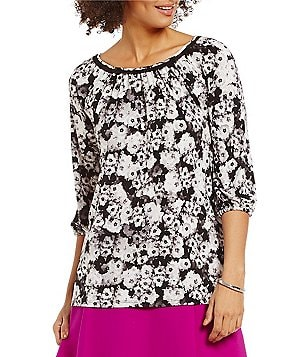 Ellen Tracy Printed Knit Jersey Shirred Boat Neck Peasant Top